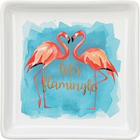 Let's Flamingle Trinket Tray in Coral Flamingo and Blue