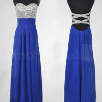 WowDresses — Fantastic Royal Blue A-line Sweetheart Floor Length Prom Dress