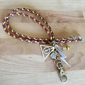 Break away lanyard / Id badge holder. Harry Potter faux leather hand braided rope.