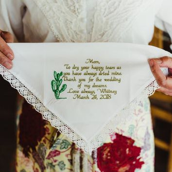 Wedding hankie, gift for mom, your own words, wedding hankies, wedding hankerchief, wedding mom, wedding handkerchief By Canyon Embroidery