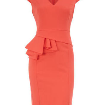 Coral V neck peplum dress - Dresses - Dorothy Perkins
