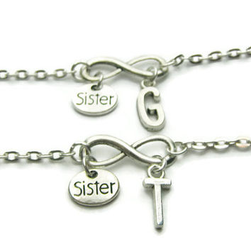 2 Infinity Sisters Initial Bracelets, 2 Sisters Jewelry, Sisters Bracelets, Sisters Jewelry, 2 Sisters Bracelets, Personalized Bracelet