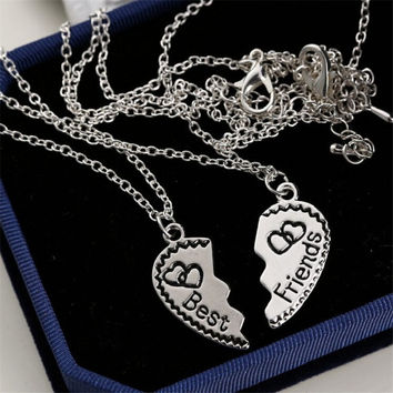 Heart Shape Best Friends Alloy Chain Necklace Girls Gift Women Jewelry Design Two Pieces Combination Necklace SM6