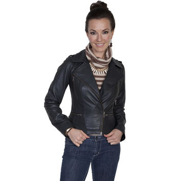 Scully Womens Black Lamb Contemporary Tailored Motorcycle Jacket