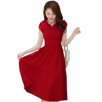 Elegant Ruffle Collar Cap Sleeve Pleated Button Lace-up Slim Dress for Women