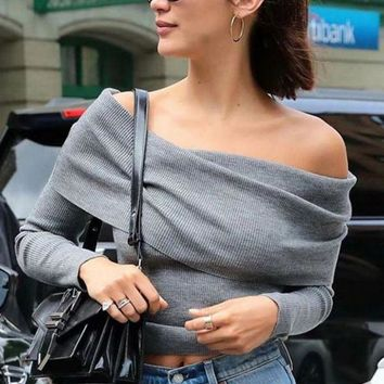 DCCKN7G Sexy A Shoulder - Over And Slim Sweater
