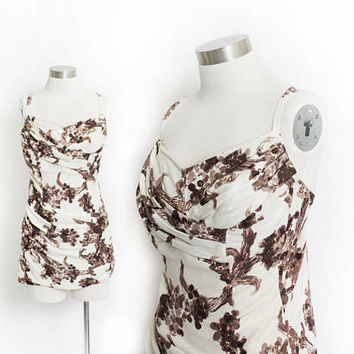 Vintage 1950s Bathing Suit - COLE of California Brown Floral One Piece Pin Up Swim Suit - XL Extra Large Volup Plus Size