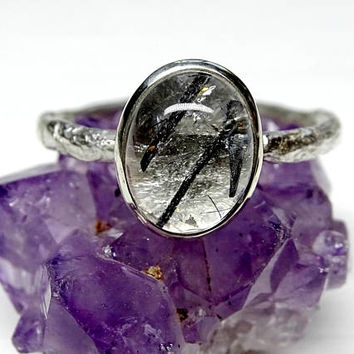 silver engagement ring Tourmaline Quartz ring, organic stone ring silver, branch silver ring for her twig silver ring Tourmalinated Quartz