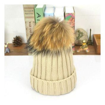 ONETOW 2016 New15 cm ball Rabbit hair large ball elastic knitted winter pompom hat warm hats for women Teens fur caps