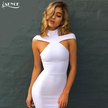 2017 New Fashion Winter Sexy Off The Shoulder Halter Bandage Dress White khaki black Club Celebrity Evening Party Dress Vestidos