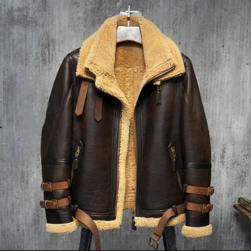 Men's Shearling Aviator Flight Jacket Imported Wool From AU-Dk Brown