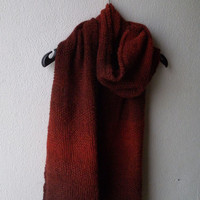 Knitted scarf with hearts in rust red, warm and soft wool alpaca scarf for women or men, unisex scarf, hand knit, valentine's day gift idea