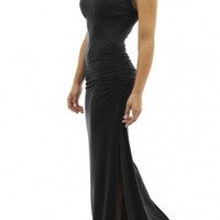 Women's Keyhole Ruched Sides Slit Summer Long Maxi Dress