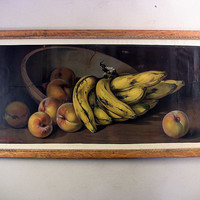 Antique Decorative Oak Frame Still-Life Print Bananas Peaches Califano