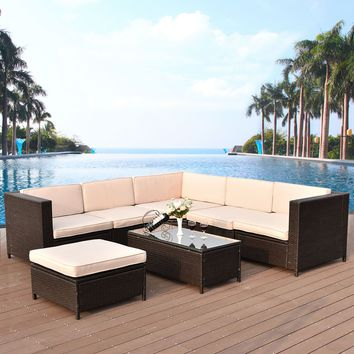 7 PCS Outdoor Rattan Wicker Furniture Set Sectional Cushioned Seat Garden Patio