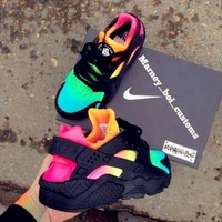 """NIKE""AIR Huarache Running Sport Casual Shoes Sneakers contrast colorful black H-AA-SDDSL-KHZHXMKH"