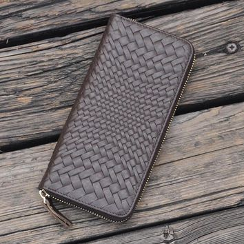 vintage handmade genuine leather long wallet weave cool gift 34 2