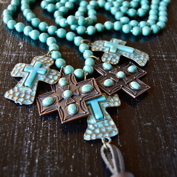 Turquoise Multi Cross Necklace