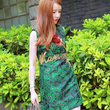 Vintage Women dress Floral Sleeveless Slim Socialite Green Stereo Rose Sequins Dresses 7976