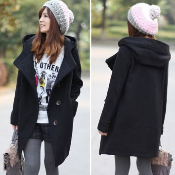 New Fashion WOMEN WOOL Winter Warm Parka Long Jacket Coat Trench Outerwear