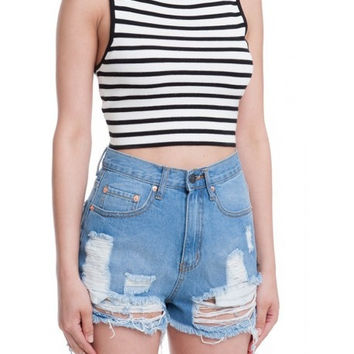 Striped Cross Back Crop Top - Black/White