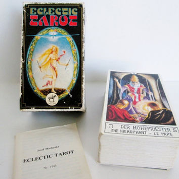 Eclectic Tarot Cards, Josef Machynka, Made in Austria 1986 full deck of cards numbered Nr1943 by Piatnik Wien, Booklet in German