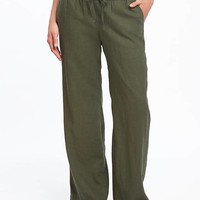 Mid-Rise Linen-Blend Wide-Leg Pants for Women | Old Navy