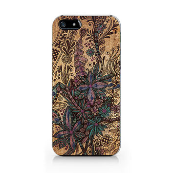 A-272- Floral Wood print iPhone 4/4S case, Autumn floral iPhone 5/5S case