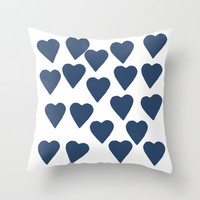 Hearts Navy Throw Pillow by Project M | Society6