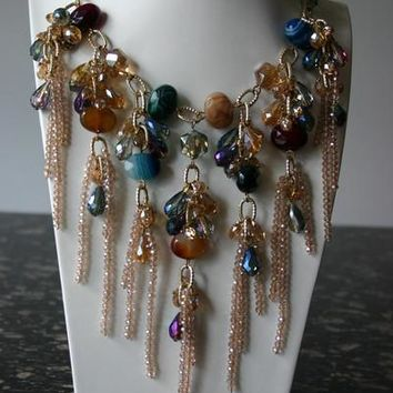 Flores Fashion Cascading Colorful Multi-Gems And Golden Crystal Necklace