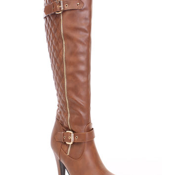 Tan Quilted Knee High Boots Faux Leather