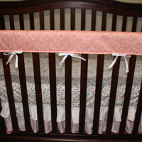 Baby Girl Crib Bedding - Tulip Fawn, Feathers, Coral Weathervanes, and Coral Ombre Crib Bedding Ensemble with Blanket or Patchwork Blanket