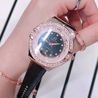 Omega Women Fashion Diamonds Leather Quartz Movement Wristwatch Watch