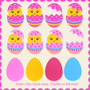 Easter Chicks Clipart - JPEG , PNG Instant Download - Commercial Use - 8x8 Sheet - Scrapbook Kit - Embellishments - High Quality 300 dpi