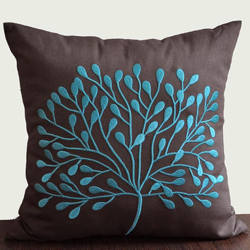 Teal Borneo Tree Throw Pillow Cover 18 x 18Decorative by Kainkain