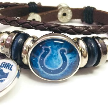 NFL Smokey Horseshoe & Girl Loves The Indianapolis Colts Bracelet Brown Leather Football Fan W/2 18MM - 20MM Snap Charms New Item