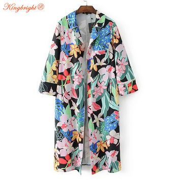 King Bright Vintage novelty summer multi floral printed long design cardigan kimono european style shirt women clothing outerwea