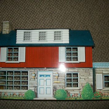 Play House, Girls Doll House, 1950s Antique Toy, Metal Doll House, Two Story House, Suburban Dream House, Baby Boomer Toy, Marx Toy House