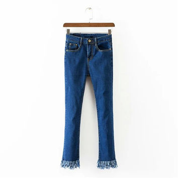 Korean Summer Women's Fashion High Rise Stretch Tassels Denim Pants [4920284292]
