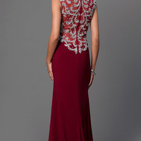 Jewel Embellished Sleeveless Floor Length Dress