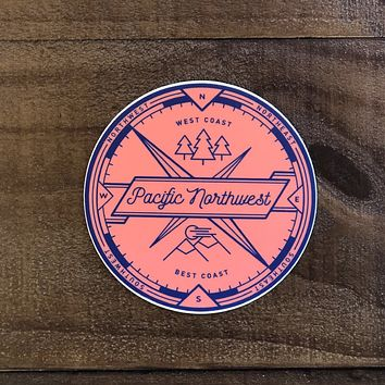 Orange Pacific Northwest Circle Vinyl Sticker