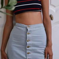 High Waist Single Breasted Classic Bodycon Wash Denim Skirt
