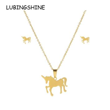 LUBINGSHINE Luxury Unicorn Jewelry Sets Gold Color Women Stainless Steel Bridal Wedding Necklace Earrings Bijoux