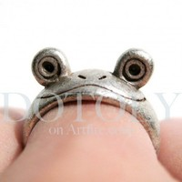 Miniature Frog Wrap Around Ring in Silver - Sizes 5 to 7 available