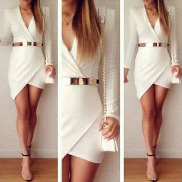 Leshery Fashion Women Bandage Bodycon Long Sleeve Evening Sexy Party Cocktail Mini Dress (S, white)