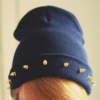 Studded spiked BEANIE Navy by SORUTHLESS on Etsy