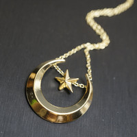 Moon Necklace, Gold Star Necklace, Metal Circle Necklace, Long Chain Gold Neckla
