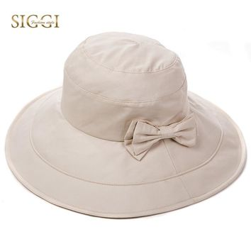 SIGGI Vintage Cotton Bucket Hat For Women Solid Bowknot Collapsible Chin Cord Adjustable Detachable UPF50+ UV Sun Hat 69038