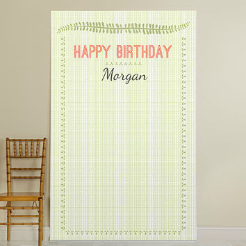 Personalized Photo Booth Backdrop - Kate's Woodland Birthday Collection - Green