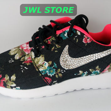 custom nike roshe run sneakers athletic women shoes with print fabric flowers and blinged with crystal swarovski nike roshe run floral